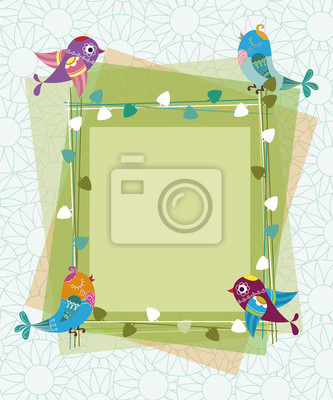 Canvas print Frame made of branches and leaves with birds and flowers in the