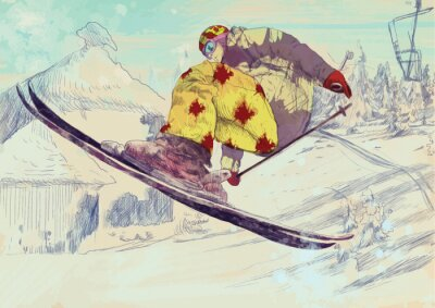Canvas print Free style skier, trick (this is drawing converted into vector)