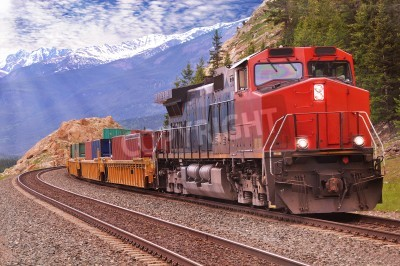 Canvas print Freight train in Canadian rockies