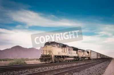 Canvas print Freight train running travelling Arizona desert