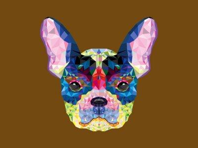 Canvas print French bulldog head in geometric pattern