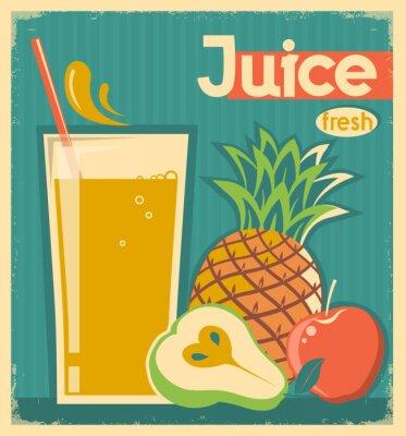 Canvas print fresh fruit juice.Vector vintage card