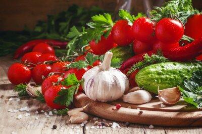 Canvas print Fresh garlic, cherry tomatoes, cucumber, hot pepper, parsley, di
