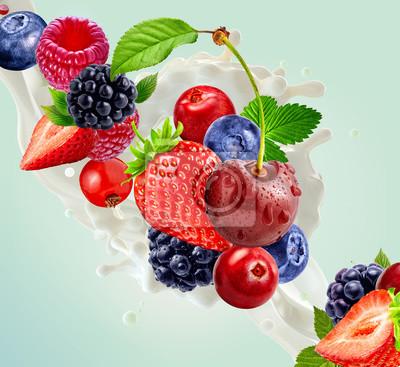 Fresh milk or yogurt 3D splash with ripe strawberry, raspberry, blueberry, cherry, blackberry. Healthy dairy product ad design elements with milk, yogurt, cream, forest fruits. Dairy label concept