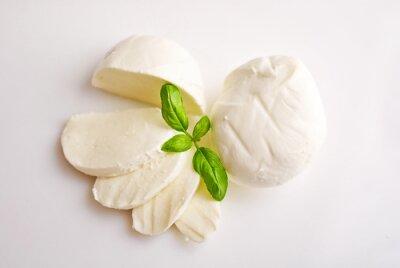 Canvas print Fresh mozzarella with basil