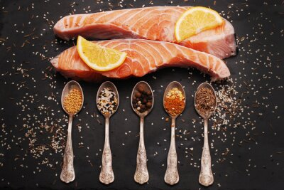 Canvas print Fresh salmon and spices