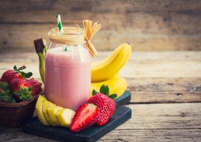 Canvas print Fresh strawberry and banana smoothie