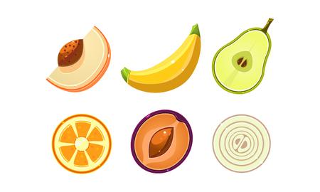 Fresh tasty organic fruits and vegetables set, peach, orange, plum, onion, banana, pear, lemon vector Illustration isolated on a white background.