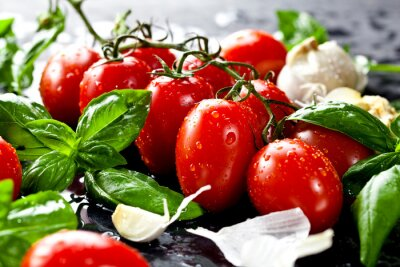 Canvas print Frische tomaten mit basilikum und knoblauch