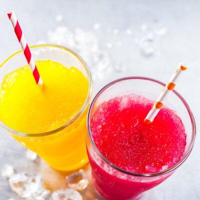 Canvas print Frozen Fruit Slush Granitas with Drinking Straws