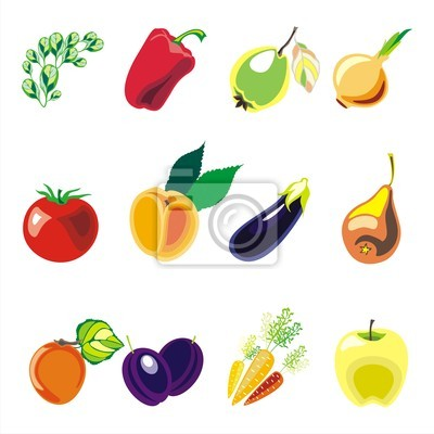 fruits and vegetables colorful vector set onwhite background