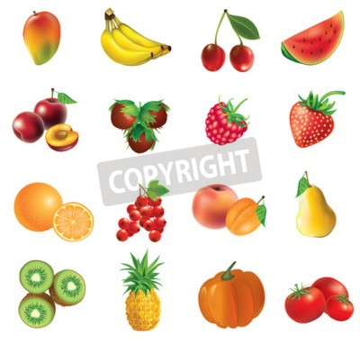 Fruits and vegetables, set of isolated, detailed illustrations and icons - mango, banana, cherry, watermelon, plum, haselnuts,  strawberry, raspberry, orange, currant, apricot,  peach, pear, kiwi, pin