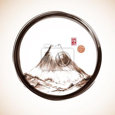 Fujiyama mountain hand-drawn with ink
