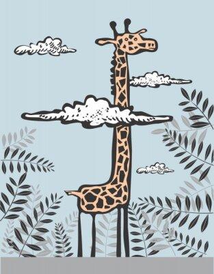 Canvas print Funny giraffe in clouds