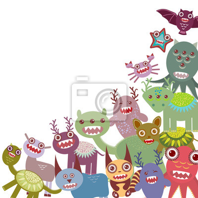 Funny monsters Big collection on white background. Vector