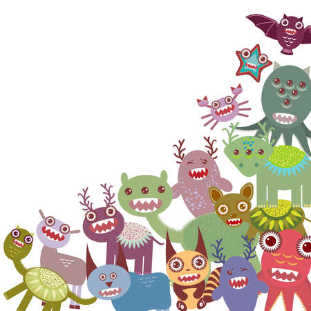 Funny monsters Big collection on white background. Vector illustration