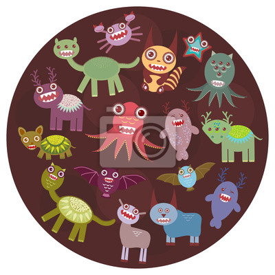 Funny monsters card design. Funny monsters set Big collection on  dark background in the circle. Vector