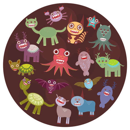 Funny monsters card design. Funny monsters set Big collection on  dark background in the circle. Vector illustration