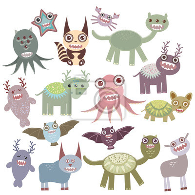 Funny monsters set Big collection on white background. Vector