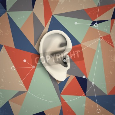 Canvas print Futuristic grunge background with ear. Vector illustration