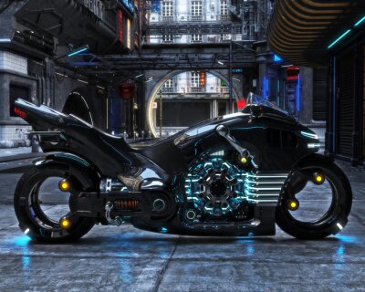 Canvas print Futuristic light cycle on display. Motorcycle is displayed with a futuristic urban background.3d rendering