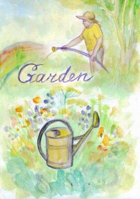 Gardening set. Woman watering plants. Watercolor painting