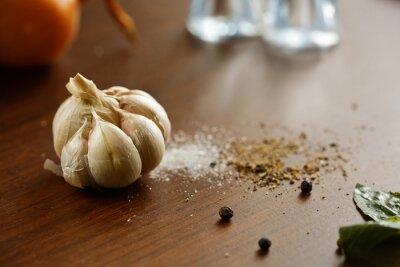 Canvas print Garlic, salt, pepper and onion