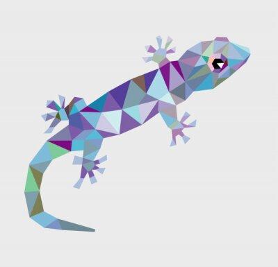 Canvas print Gecko triangle low polygon vector