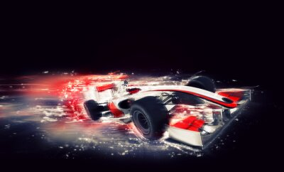 Canvas print Generic F1 car with special speed effect