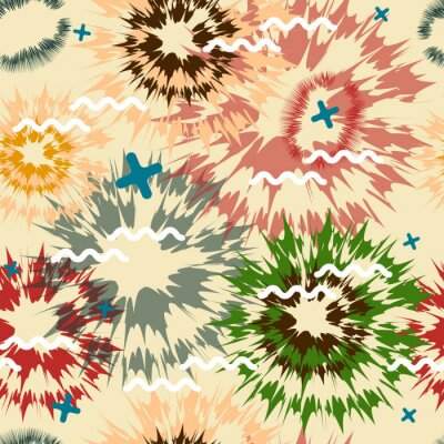 Geometric abstract seamless pattern. Fabric design. Stylized salute on beige background. Vector.