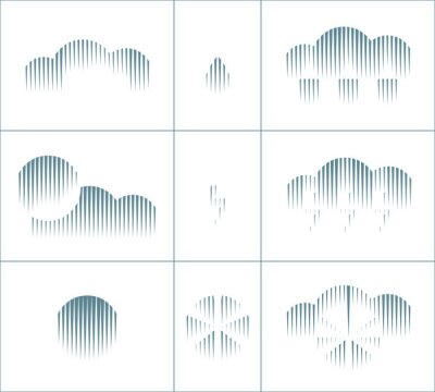 Geometric halftone weather symbols set