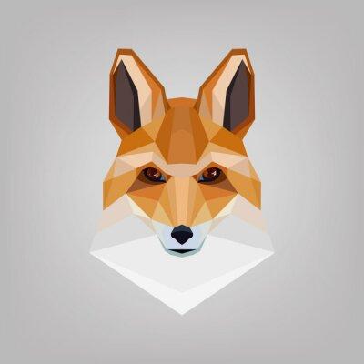 Canvas print Geometric polygonal head is foxes. Logo design.