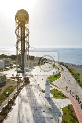 Georgia Batumi beach, alphabet tower, lighthouse Black Sea coast
