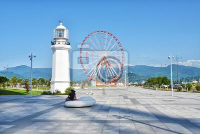 Georgia Batumi Ferris Wheel and lighthouse Black Sea coast