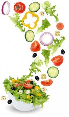 Canvas print Gesund vegetarisch Essen Salat mit Tomate, Gurke, Zwiebel und Pa