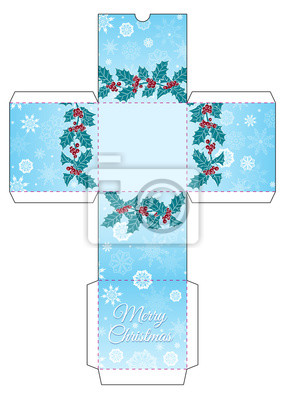 """Gift box with a garland of Holly, snowflakes and the words """"Merry Christmas"""""""