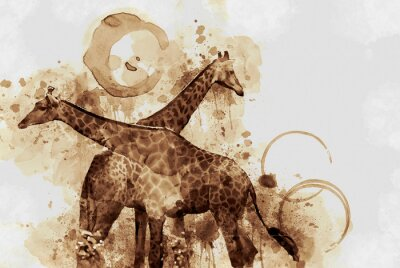 Canvas print Giraffe. Digital Art Coffee stain panting.