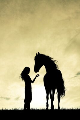 Canvas print girl and horse silhouette