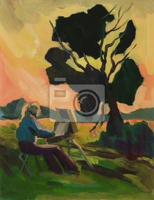 Girl artist painting summer landscape. Oil painting