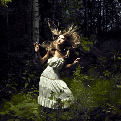 Canvas print Girl in fairy forest