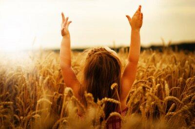 Canvas print Girl on a wheat