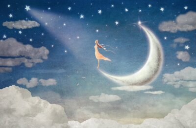 Canvas print Girl on moon  admires  the night sky  - illustration art