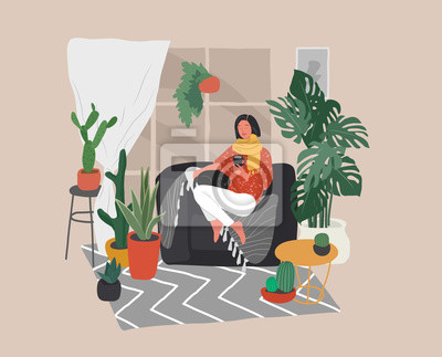 Canvas print Girl sitting and resting on the couch with a cat and coffee. Daily life and everyday routine scene by young woman in scandinavian style cozy interior with homeplants. Cartoon vector