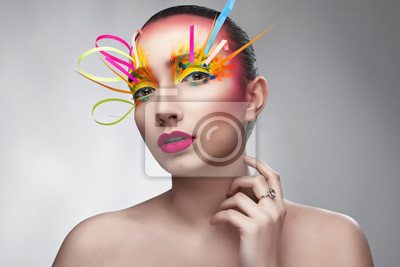 Girl with bright color creative makeup