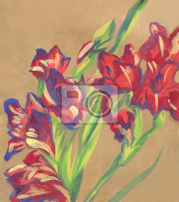 Canvas print gladiolus flower. Gouache