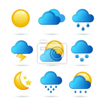 Glossy weather icon set. Vector illustration. Meteorology symbol