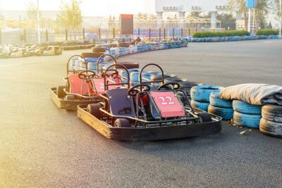 Canvas print Go-kart in the park on karting track