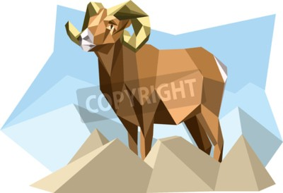 Canvas print Goat in cubism style