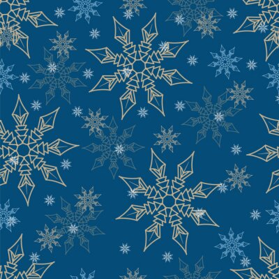 Gold and blue snowflakes on a dark blue background. Seamless pattern. Pattern for fabric, wrapping paper for Christmas gifts. Vector