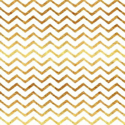 Canvas print Gold Faux Foil Chevron Metallic White Background Pattern